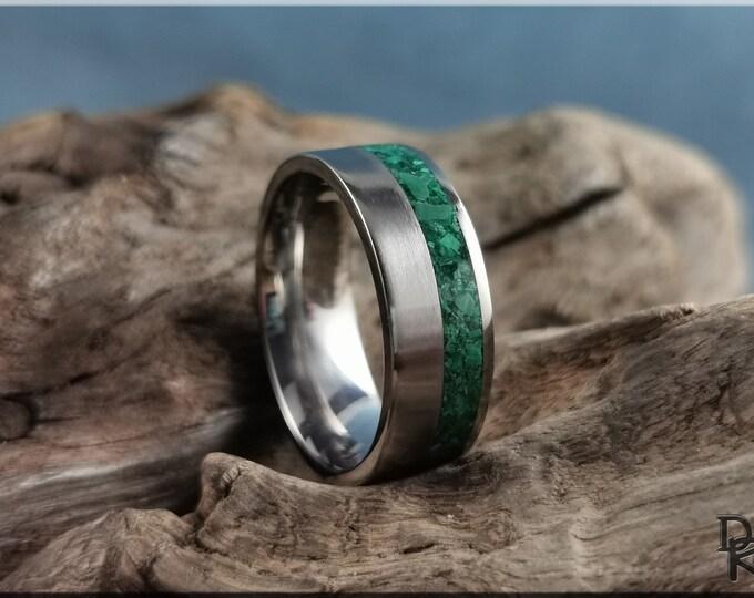 Titanium Offset 8mm Channel Ring w/Green Malachite Stone inlay