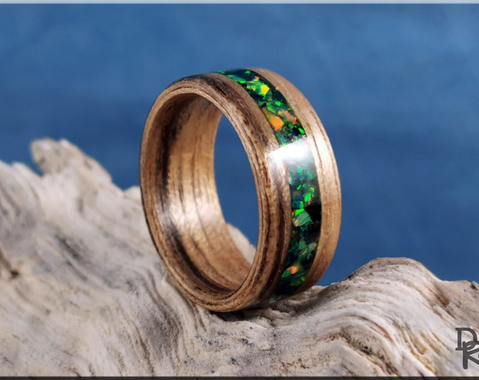 Bentwood Ring - Paldao Wood w/Olive Emerald Opal inlay - Wood Ring