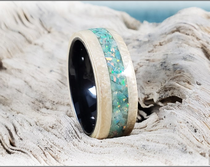 Bentwood Ring - Curly English Sycamore w/Moon Yellow opal inlay, on black ceramic ring core