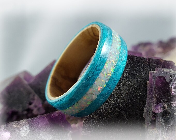 Bentwood Ring - Ocean Blue Koto w/White Fire opal inlay on Olivewood core
