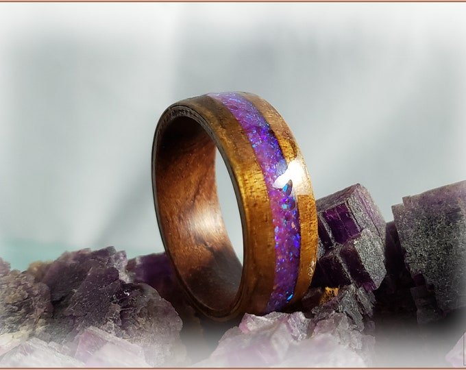 Bentwood Ring - Golden Hawaiian Koa w/Galaxy Purple Opal inlay, on Rosewood core