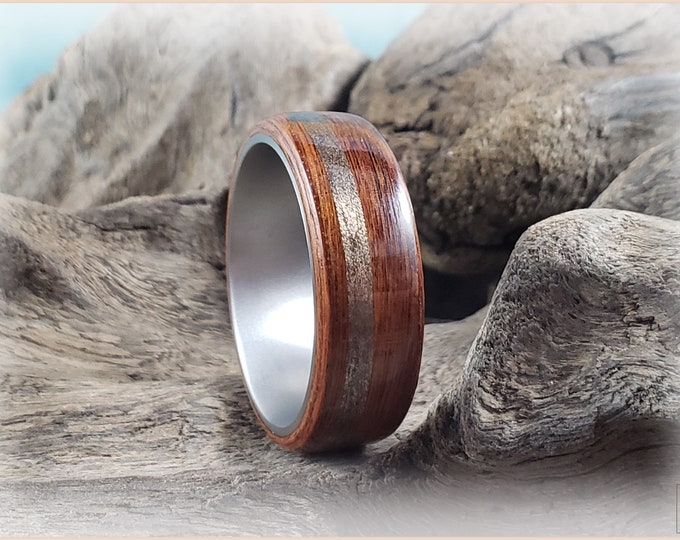 Bentwood Ring - Santos Rosewood w/offset Burnished Bronze inlay, on titanium ring core