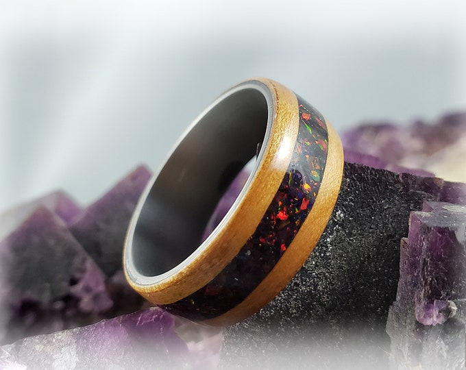 Bentwood Ring - Curly Cherry w/Black Fire opal inlay, on titanium ring core