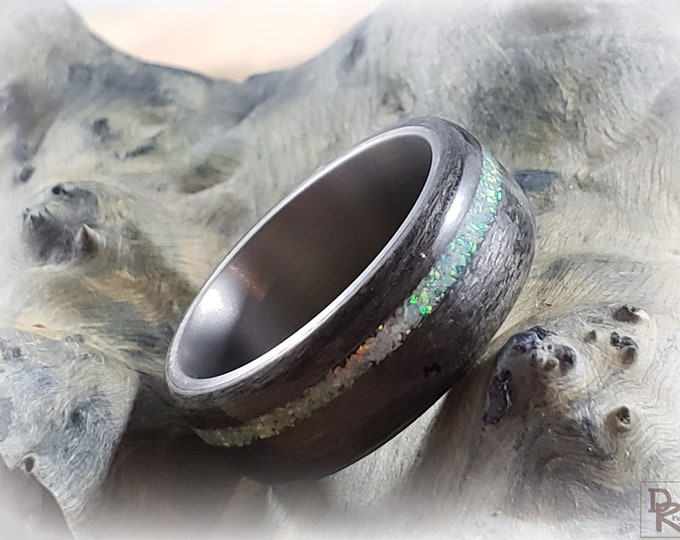 Bentwood Ring - Graphite Grey Maple w/White Fire opal inlay- titanium ring core.
