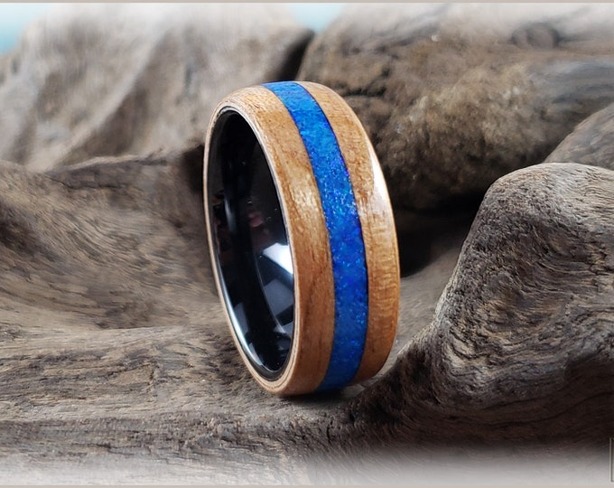 Bentwood Ring - Curly Cherry w/House Blend Opal and Glow inlay, on 8mm black ceramic core