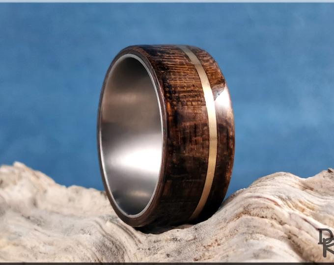 Bentwood Ring - Amazaque w/offset Brass Wire inlay, on titanium ring core