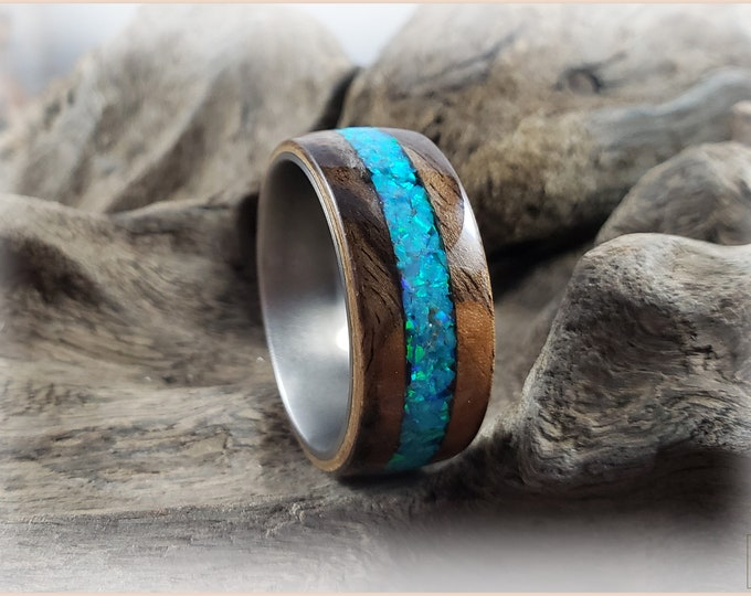 Bentwood Ring - Rustic French Walnut w/Aqua Fire Opal inlay, on titanium ring core