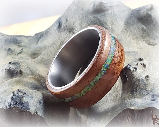 Bentwood Ring - Etimoe w/offset Fire Opal inlay - titanium ring core.