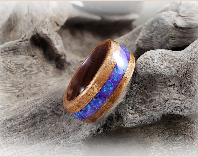 Bentwood Ring - Jatoba w/Lavender Opal inlay, on Ironwood ring core