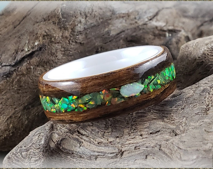 Bentwood Ring - Bocote w/Olive Green and Fire and Snow chunk opal inlay, on polished white ceramic ring core