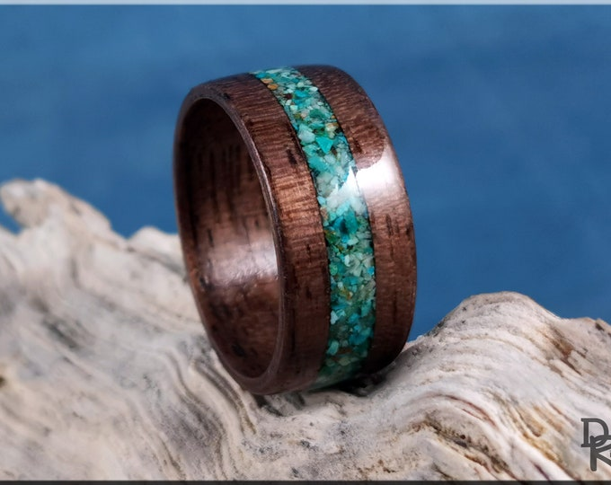 Bentwood Ring - Curly Black Walnut w/Chrysocolla Stone inlay - Wood Ring