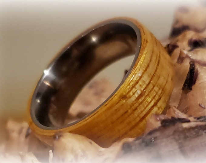 Bentwood Ring - Movingui - titanium ring core.