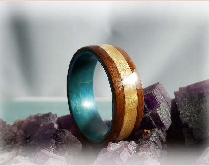 Bentwood Ring - Santos Rosewood w/Birdseye Maple wood inlay on Teal Box Elder ring core