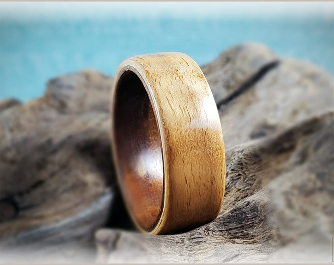 Dual Bentwood Ring - Curly Walnut on Bentwood Fumed Aspen ring core