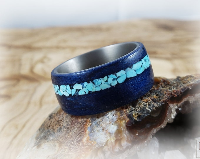 Bentwood Ring - Cobalt Blue Tulipwood w/offset Sleeping Beauty Turquoise inlay on titanium ring core