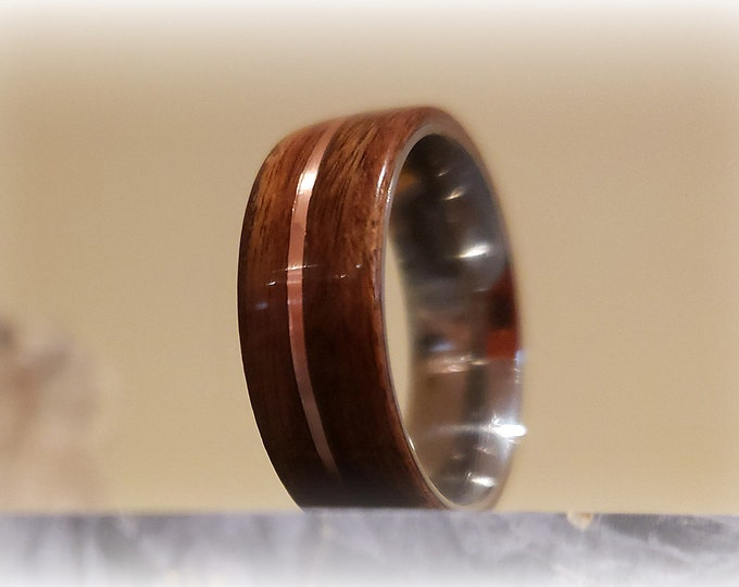 Bentwoood Ring - Santos Rosewood w/copper inlay on titanium ring core