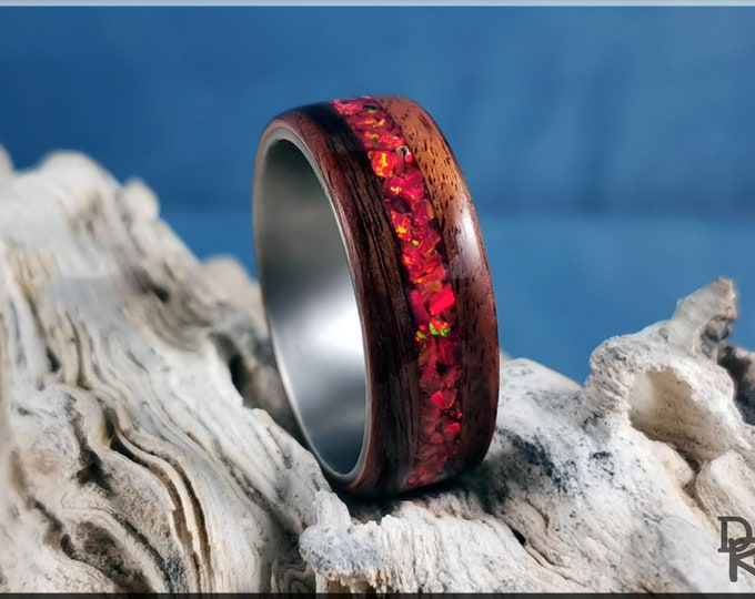 Bentwood Ring - Santos Rosewood w/Ruby Fire Opal inlay, on titanium ring core