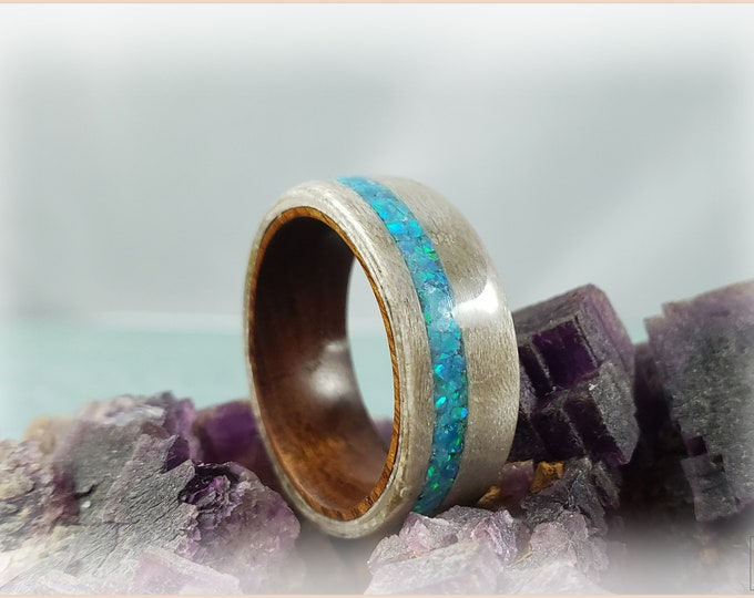 Bentwood Ring - Pewter Birdseye Maple w/offset Aqua Fire opal inlay on Ironwood ring core