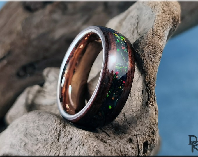 Bentwood Ring - Smoked Etimoe w/Deep Emerald opal inlay, on Rose Gold plated Tungsten Carbide ring core - Wood Ring