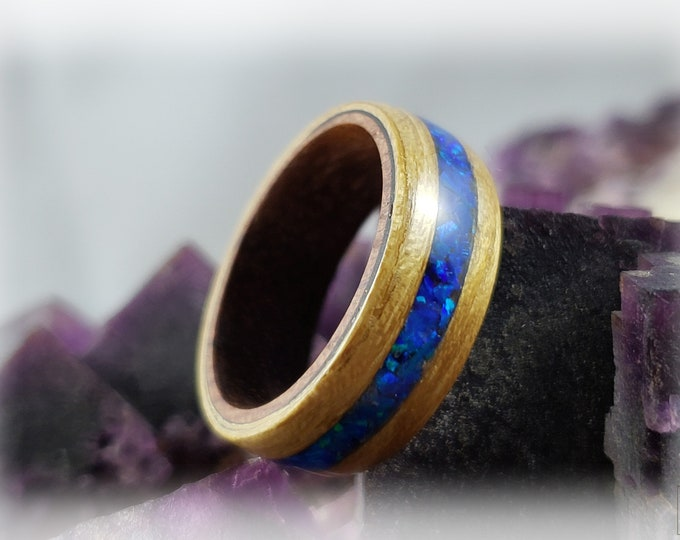 Bentwood Ring - Black Locust w/Sleepy Blue opal inlay, on Rosewood ring core