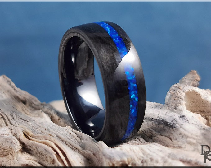 Bentwood Ring - Graphite Grey Maple w/offset Sleepy Blue Opal inlay, on Polished Black Ceramic ring core - Wood Ring