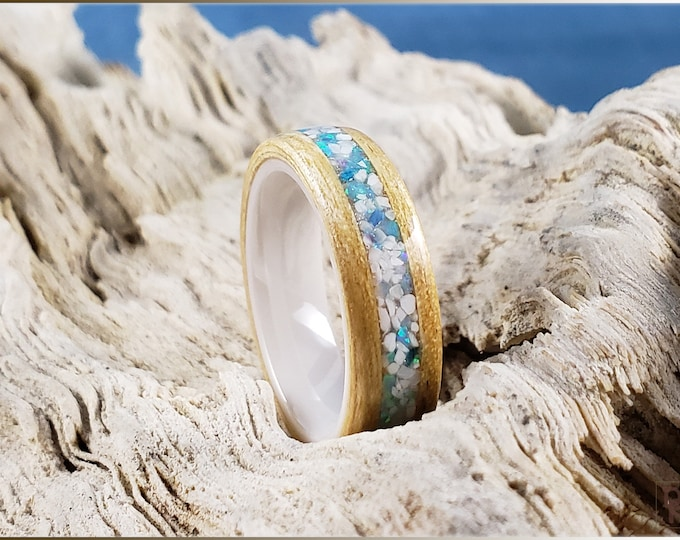 Bentwood Ring - Japanese Ash w/Howlite stone and opal mix inlay, on polished white ceramic ring core