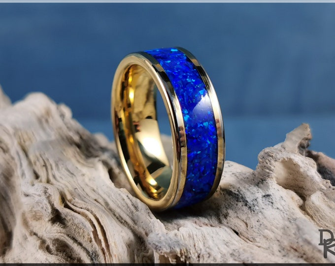 Gold Plated Tungsten Carbide 8mm Channel Ring w/Sleepy Blue Opal inlay