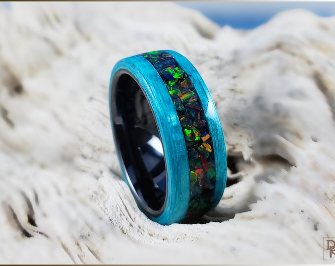 Bentwood Ring - Ocean Blue Koto w/Carbon Fire inlay, on polished black ceramic ring core