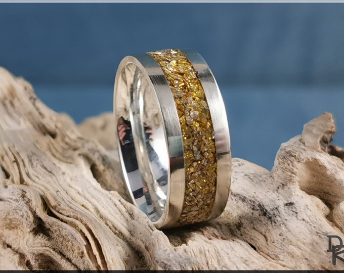 Premium .925 Sterling Silver 8mm Channel Ring w/Crushed Gold Glass inlay