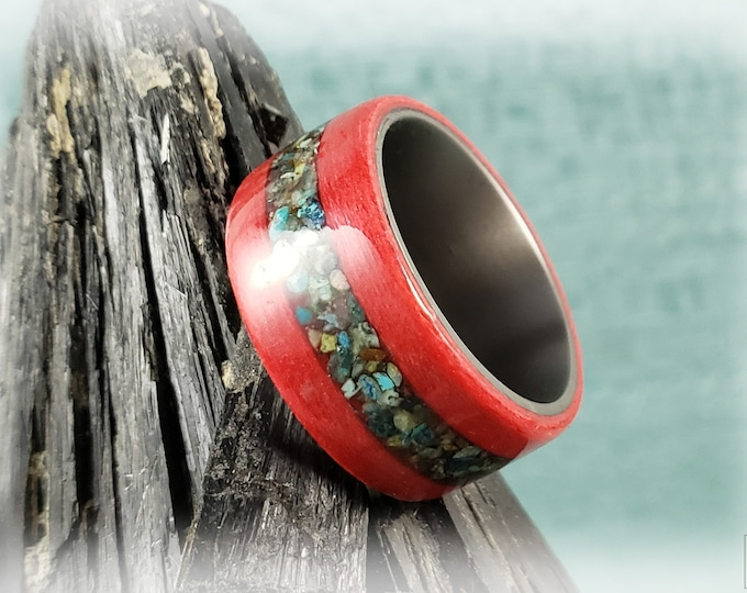 Bentwood Ring - Fire Red Tulipwood w/Phoenix Turquoise inlay, on titanium core