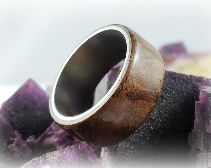Bentwood Ring - Black Walnut Burl - titanium ring core.