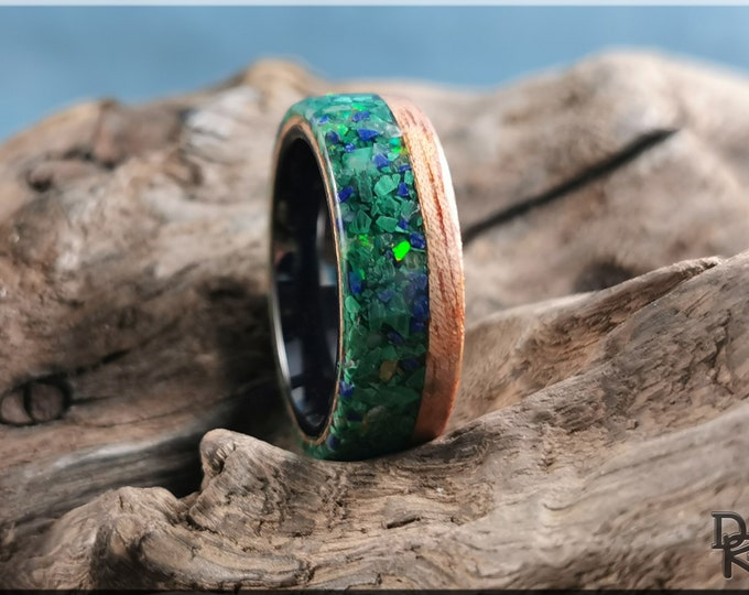 Bentwood Ring - Okoume w/Live Edge Stone and Opal blend inlay, on Polished Black Ceramic inner core