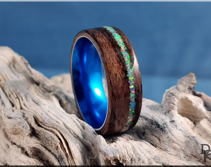 Bentwood Ring - Louro Preto w/offset Cornflower Blue Opal inlay, on Cobalt Flash anodized ring core