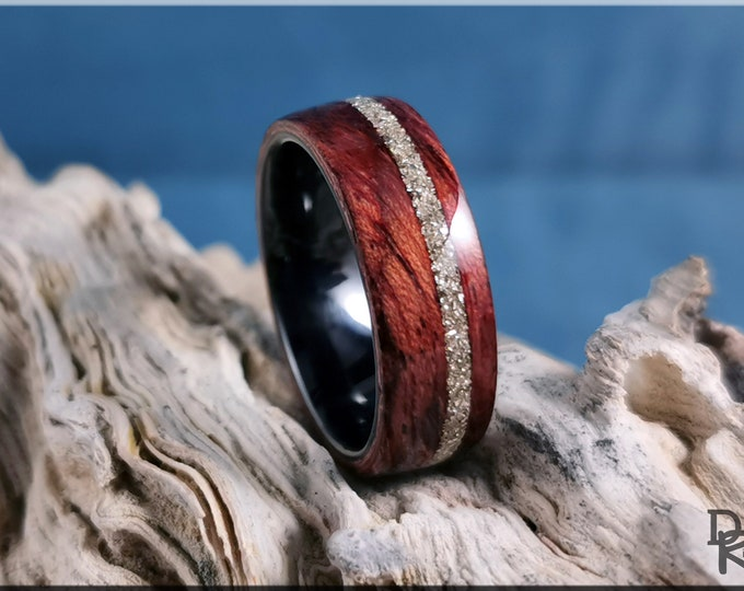 Bentwood Ring - Waterfall Bubinga w/offset Silver Glass inlay, on Polished Black Ceramic ring core