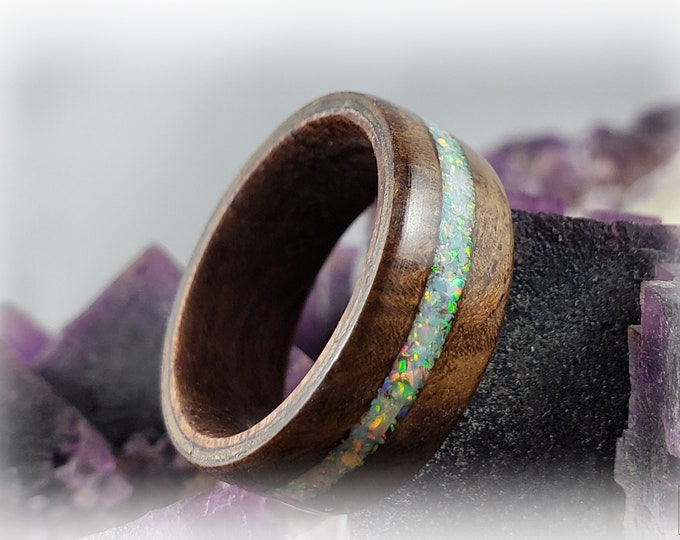 Bentwood Ring - Black Walnut Burl on Rosewood core w/White Fire opal inlay