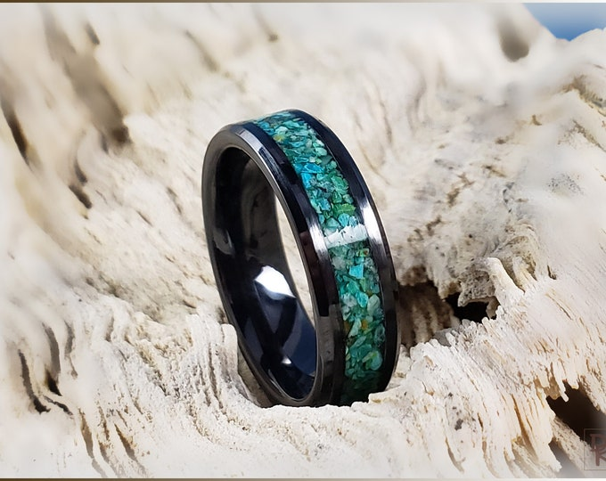 Black Ceramic Channel Ring w/Chrysocolla stone inlay