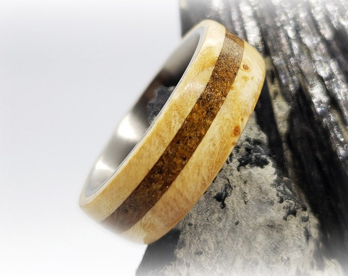 Bentwood Ring - Ash Burl w/offset Tiger Eye inlay, titanium core.