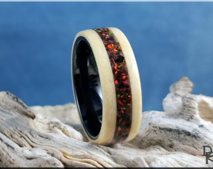 Bentwood Ring - Maple Pomelle w/Multi Cherry Opal inlay, on Polished Black Ceramic ring core - Wood Ring