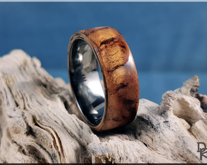 Bentwood Ring - English Chestnut Burl on 8mm Polished Black Ceramic ring core
