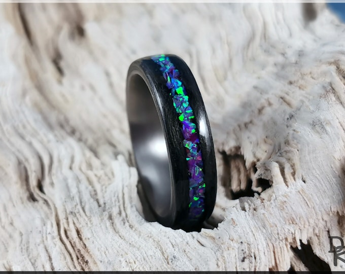Bentwood Ring - Graphite Grey Maple w/Magenta Opal inlay, on titanium ring core