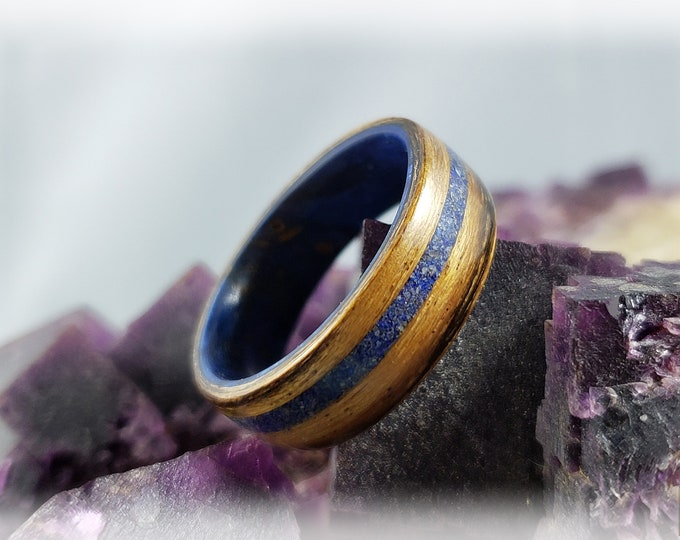 Bentwood Ring - Ovangkol with offset Lapis Lazuli stone stone inlay, on Blue Box Elder core