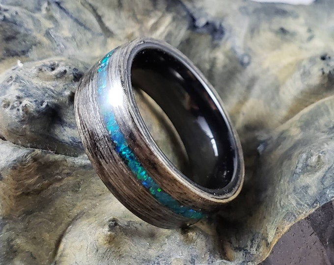 Bentwood Ring - Harborica w/offset Peacock Blue opal on polished black ceramic ring core