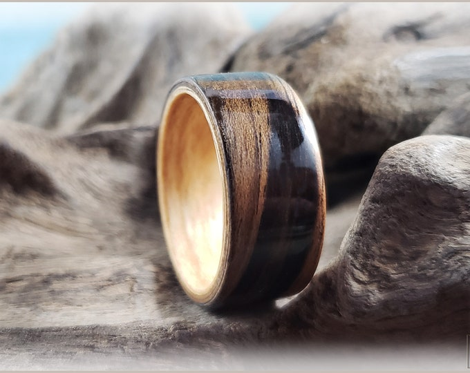 Dual Bentwood Ring - Rustic French Walnut on Bentwood Pomelle Maple ring core