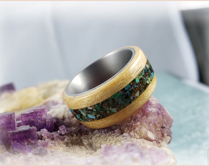 Bentwood Ring - Swiss Aspen w\genuine Phoenix Turquoise inlay, on titanium ring core