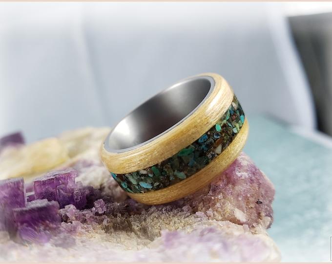 Bentwood Ring - Swiss Aspen w\genuine Phoenix Turquoise inlay, on titanium ring core