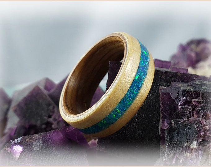 Bentwood Ring - Swiss Aspen w\Peacock Blue Opal inlay, on Bentwood Black Cherry ring core
