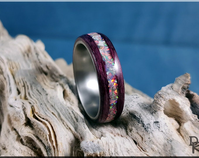 Bentwood Ring - Plum Koto w/Fire and Snow opal inlay on Titanium ring core
