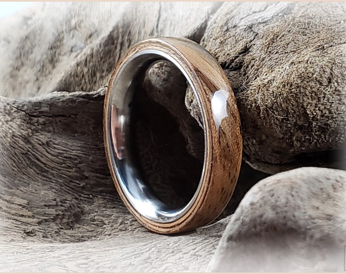 Bentwood Ring - Rustic French Walnut on stainless steel core - Wood Ring