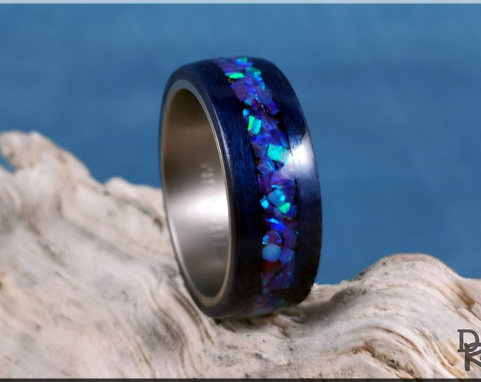 Bentwood Ring - Midnight Blue Tulipwood w/Galaxy Purple plus Multi-Green Opal inlay, on titanium ring core