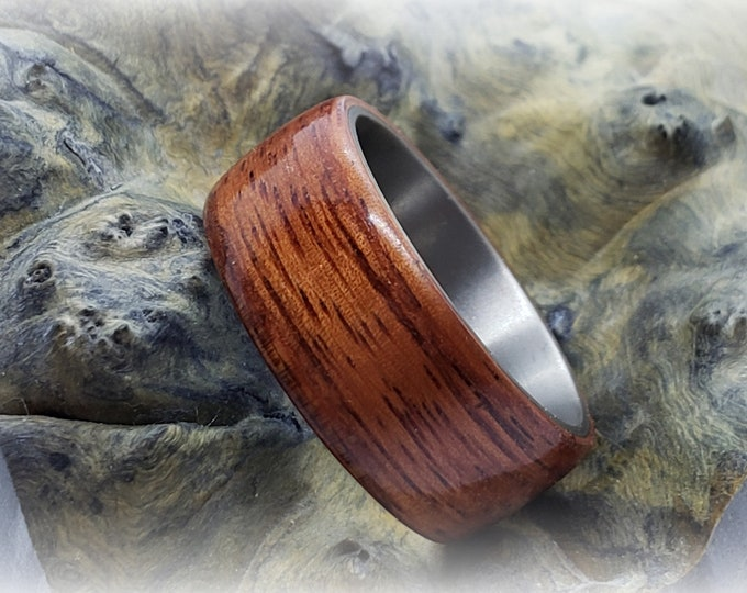 Bentwood Ring - Pao Rosa - titanium ring core.
